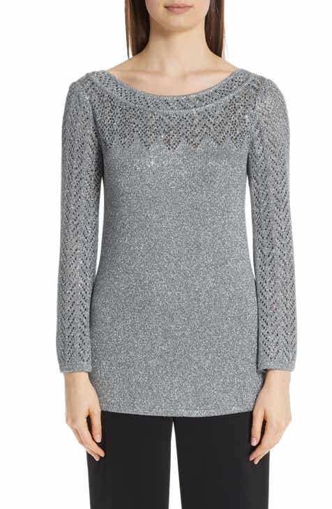 St. John Collection Metallic Eyelet Chevron Knit Top by ST. JOHN COLLECTION