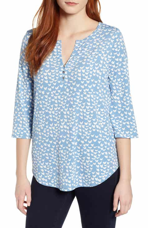 Chaus Palm Groves Split Neck Blouse