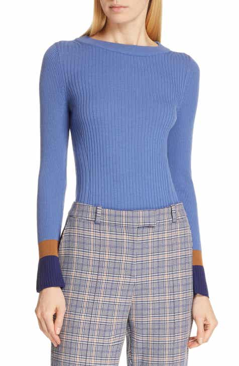 a66cbef370a9 BOSS Fadeline Blue Fantasy Ribbed Wool Sweater