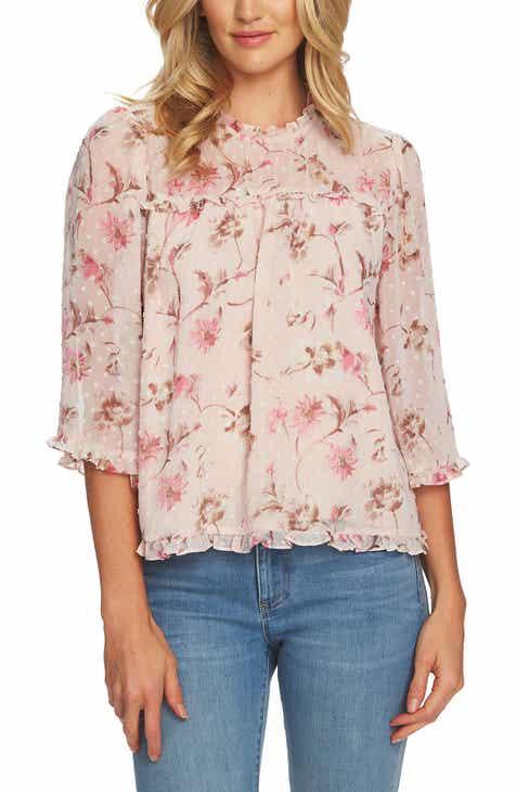 c854985cfb867a CeCe Duchess Floral Ruffle Blouse