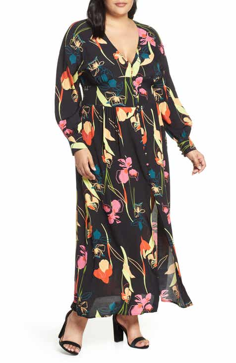 Leith Floral Print Maxi Dress (Plus Size) by LEITH