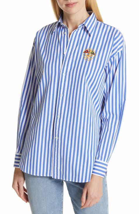 6b54dd69ad28 Polo Ralph Lauren Ellen Crest Logo Stripe Blouse
