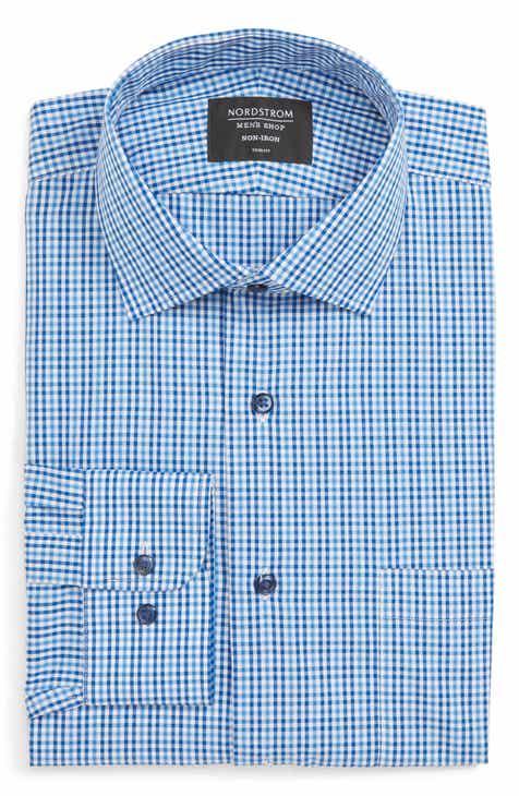 c6b40cbcad7 Nordstrom Men s Shop Non-Iron Trim Fit Microcheck Dress Shirt