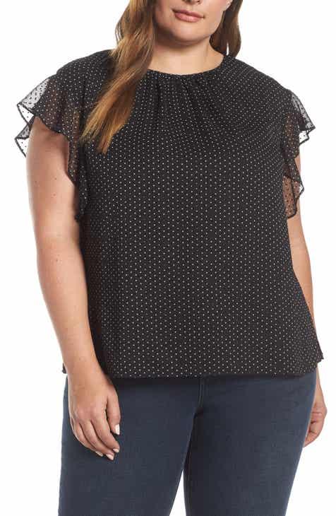 f485061b9ab Vince Camuto Flutter Sleeve Polka Dot Blouse (Plus Size)
