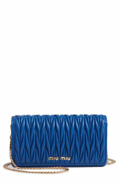 Miu Miu Matelassé Leather Wallet on a Chain 510840475b63e