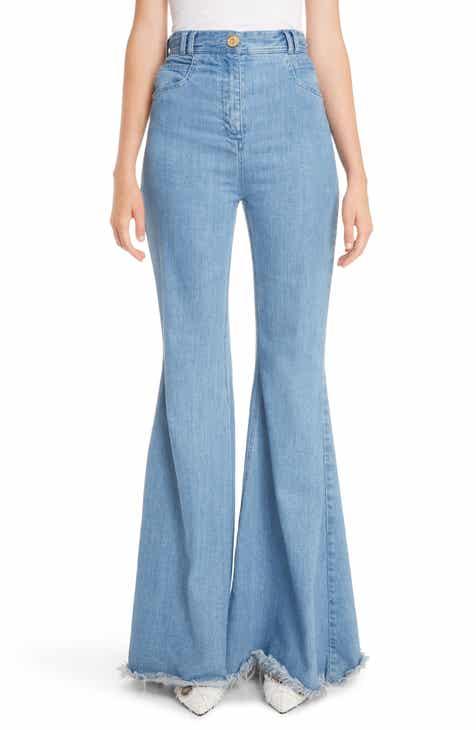 Balmain High Waist Frayed Hem Flare Jeans by BALMAIN