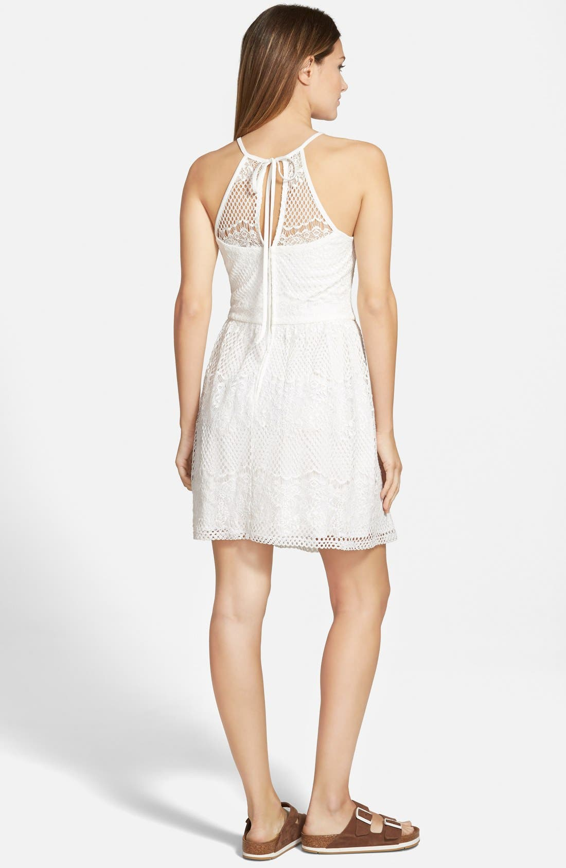 Alternate Image 2  - Trixxi Lace High-Neck Skater Dress