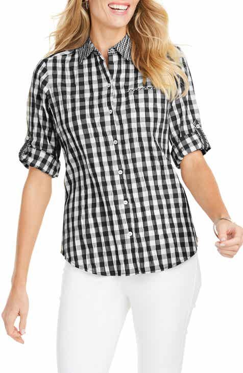 a0a1f91ee3a Foxcroft Reese Crinkle Gingham Shirt