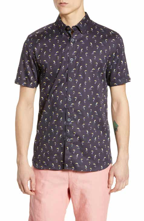 5e941b31f Ted Baker London Phmingo Slim Fit Bird Print Sport Shirt