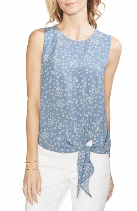 305292fbbb3b Vince Camuto Ditsy Showers Tie Front Blouse