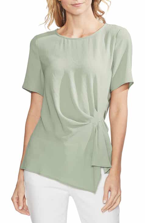 8d9f17e689a0 Vince Camuto Side Pleat Mixed Media Blouse