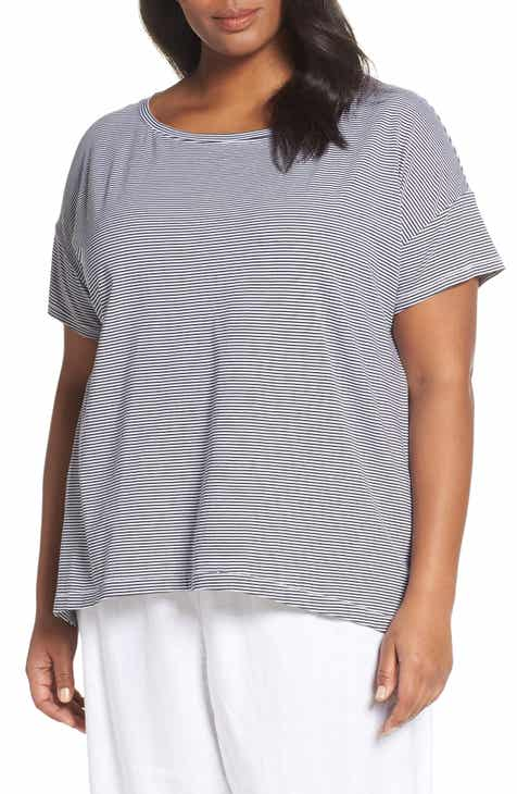 db3f56868067b Eileen Fisher Bateau Neck Stripe Tee (Plus Size)