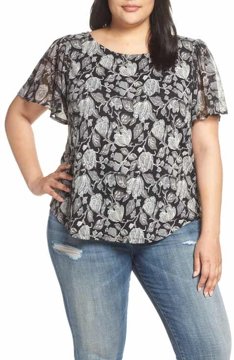 7dab38439433e Lucky Brand Floral Print Top (Plus Size)