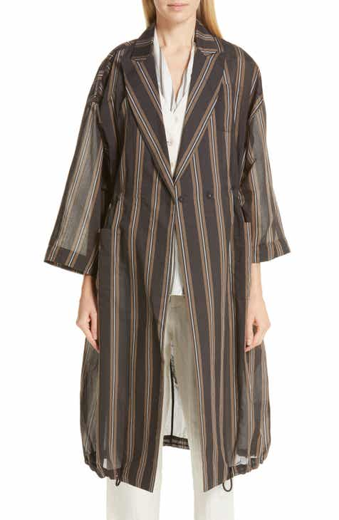 Brunello Cucinelli Stripe Woven Drawstring Jacket by BRUNELLO CUCINELLI