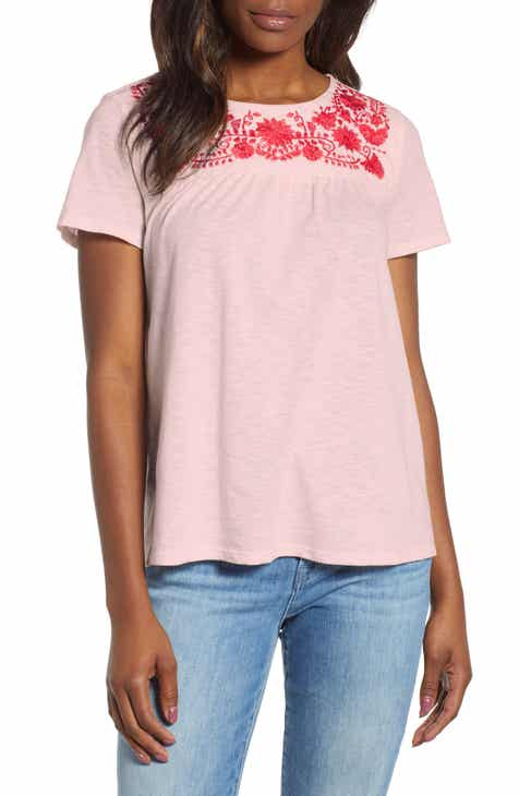 Savannah Embroidered Yoke Tee (Regular   Petite) (Nordstrom Exclusive) 8694e137b
