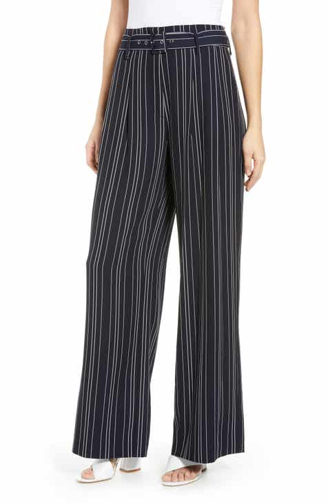 MOON RIVER High Waist Stripe Crop Pants by MOON RIVER