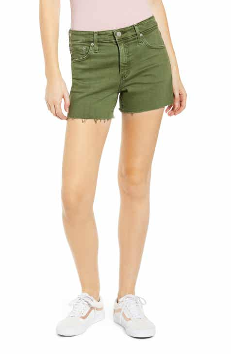 J.Crew High Rise Button Fly Denim Shorts (Chalk) by J.CREW
