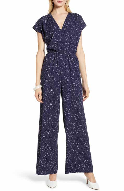 596b09e25c7 Halogen® Faux Wrap Jumpsuit (Regular   Petite)