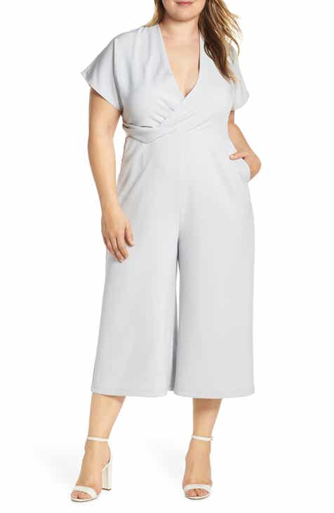 Leith Surplice Wide Leg Crop Jumpsuit (Plus Size) by LEITH