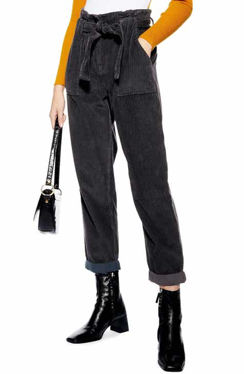 ff83bc120f65f Topshop Corduroy Paperbag Waist Trousers