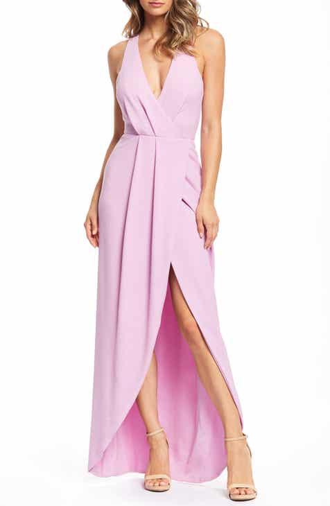 8a8e0788ff Dress the Population Ariel Racerback Faux Wrap Evening Dress