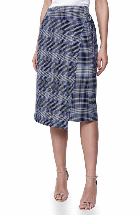 Reiss Josie Ring Belt Plaid Midi Skirt by REISS