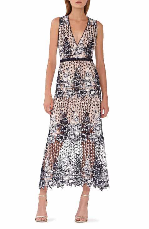 ca6ed50442cb7 ML Monique Lhuillier Two Tone Lace Tea Length Dress