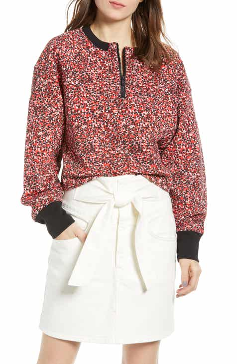 c4e7f70a511 Rebecca Minkoff Sara Ditsy Floral Quarter Zip Sweatshirt