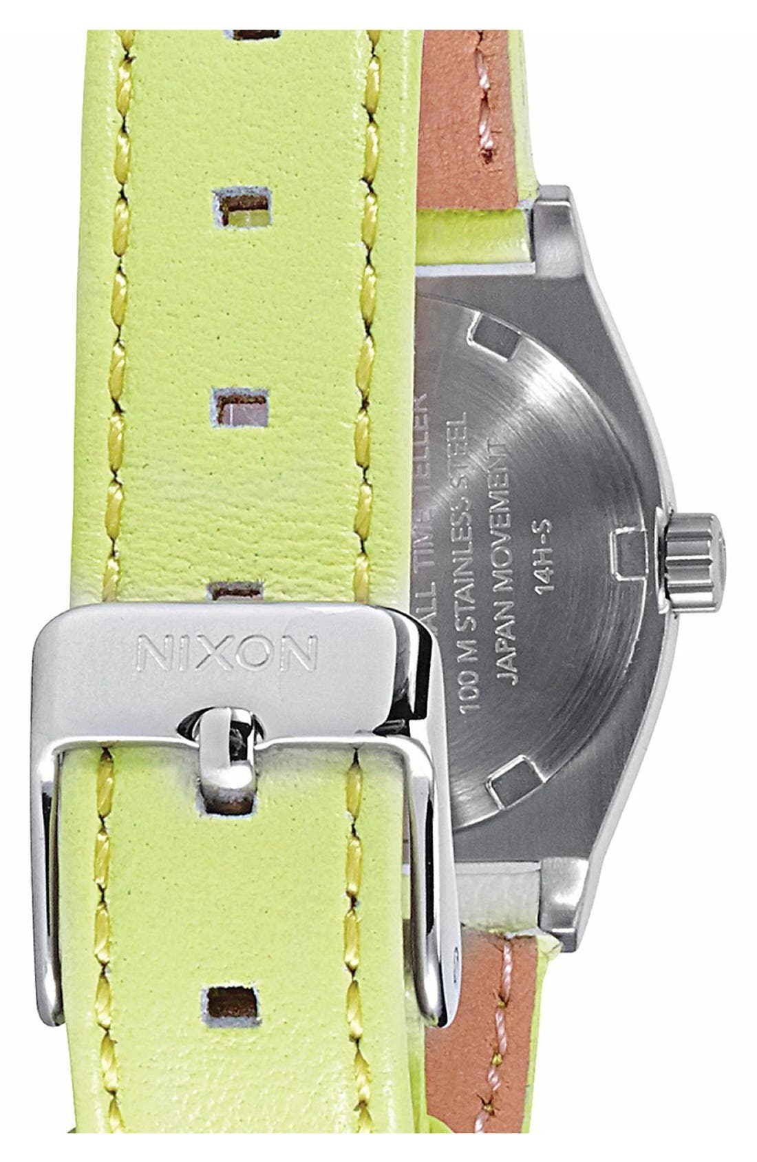 Alternate Image 2  - Nixon 'Small Time Teller' Leather Strap Watch, 26mm