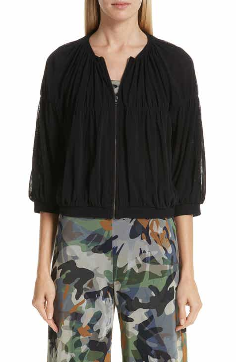 11b6f4b6d47 Fuzzi Ruched Tulle Bomber Jacket