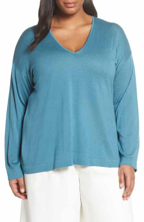 Eileen Fisher Silk & Cashmere Sweater (Plus Size) by EILEEN FISHER