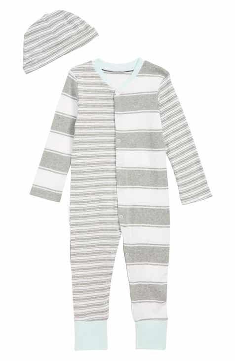 Burt's Bees Baby Peace Stripe Organic Cotton Romper & Hat Set (Baby)