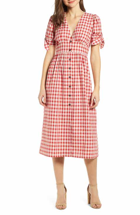 7927284becb MOON RIVER Button Front Plaid Midi Dress
