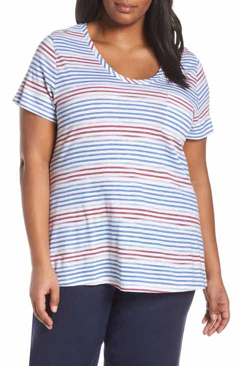 55e305af Caslon® Rounded V-Neck Tee (Plus Size)