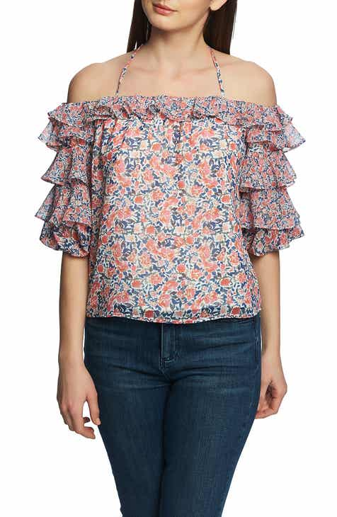 807b2335f864e0 STATE Sunwashed Tiered Ruffle Sleeve Halter Blouse