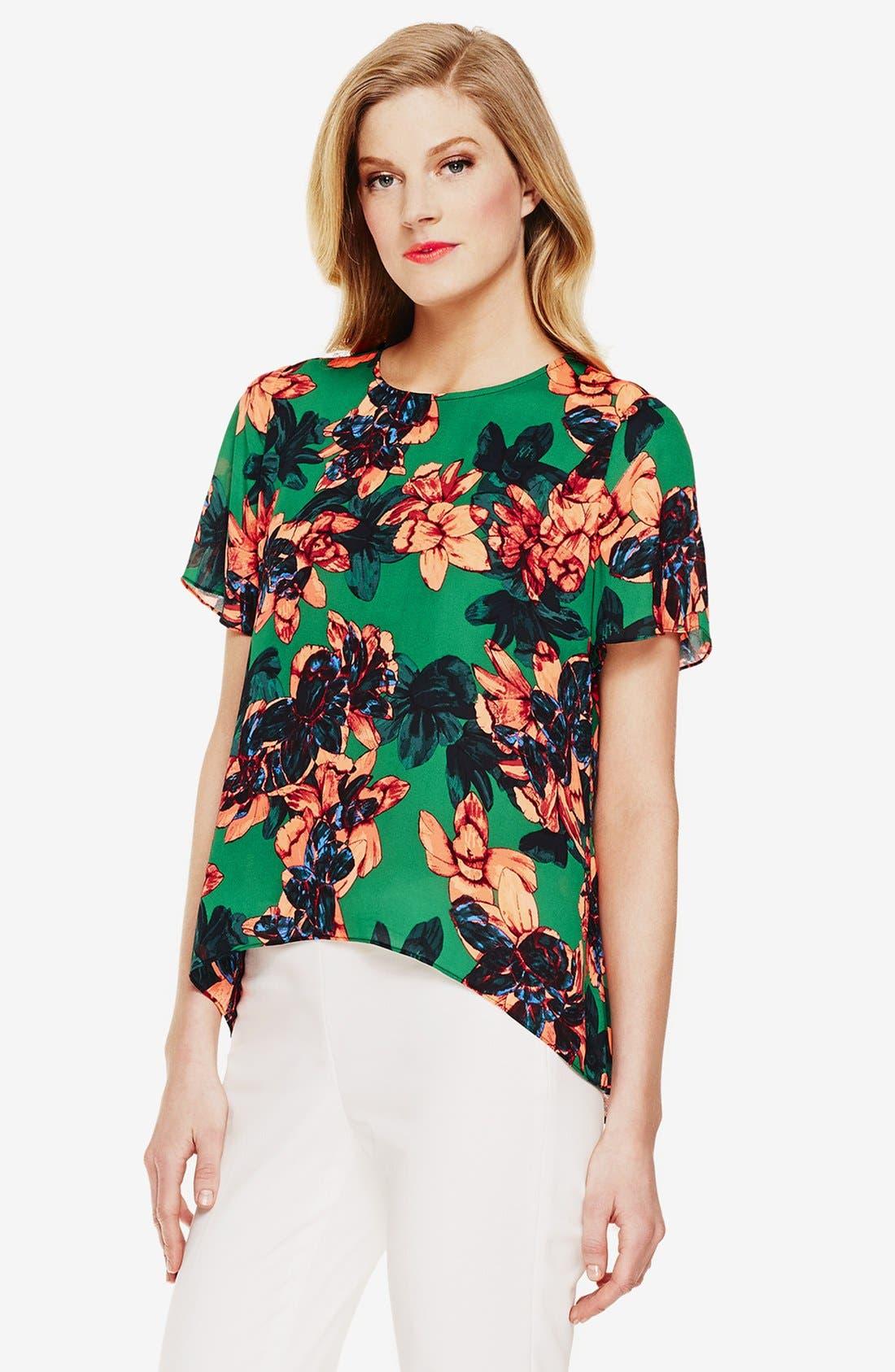 'Batik Floral' High/Low Blouse,                             Main thumbnail 1, color,                             Cactus