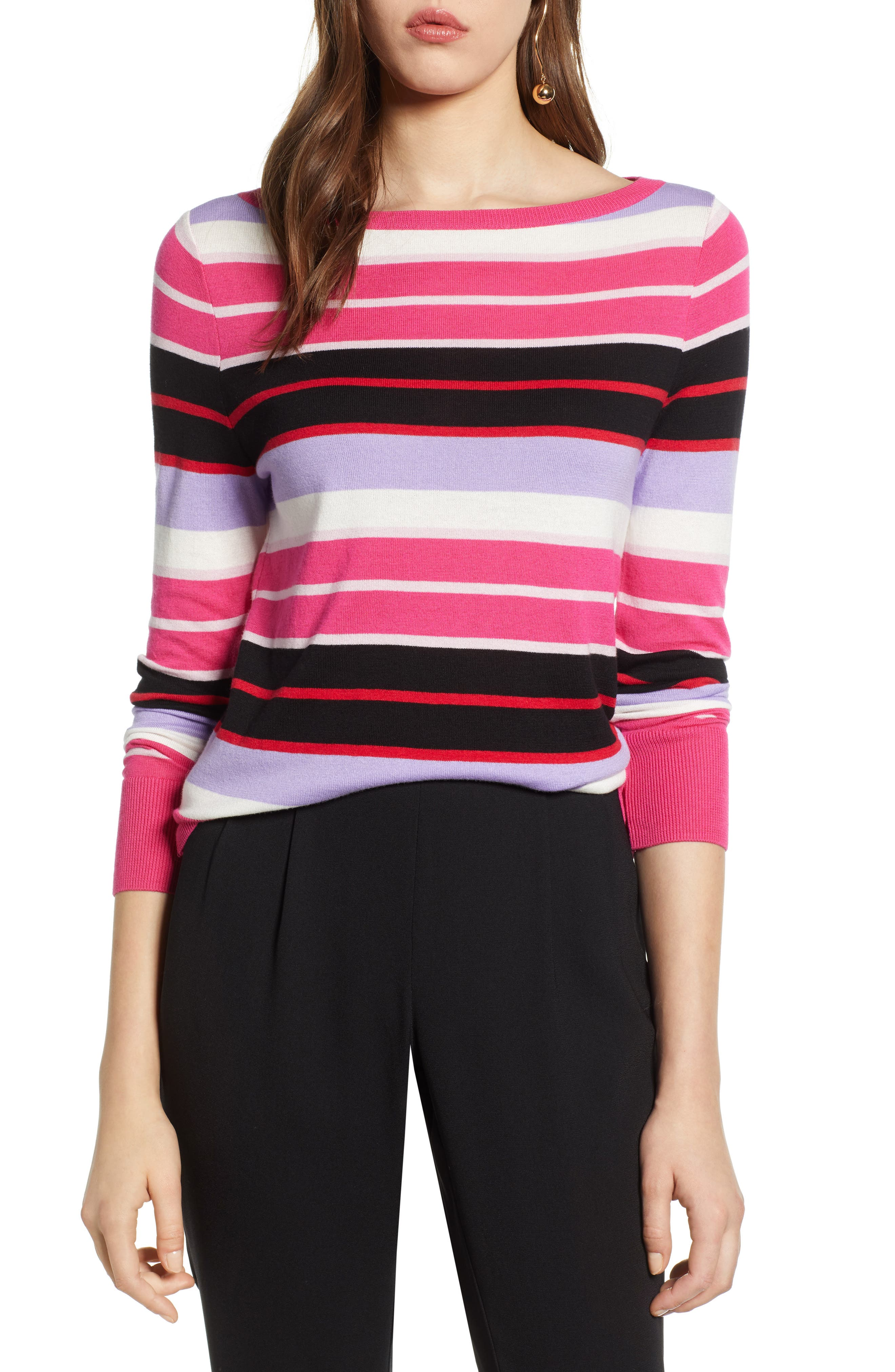 Women's Clothing Clothing, Shoes & Accessories Ann Taylor Pink V Neck Balloon Puff Sleeve Ribbed Sweater Xl Pink Gray Stripe Yet Not Vulgar