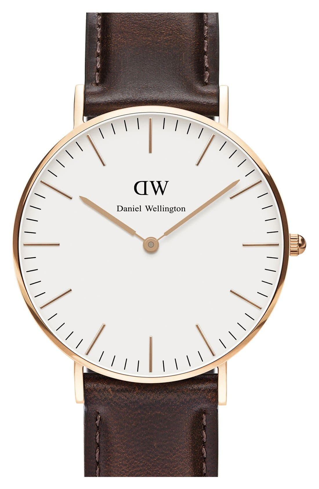 Alternate Image 1 Selected - Daniel Wellington 'Classic Bristol' Round Leather Strap Watch, 36mm
