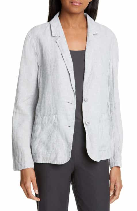 Eileen Fisher Shaped Linen Blend Blazer (Regular & Petite) by EILEEN FISHER