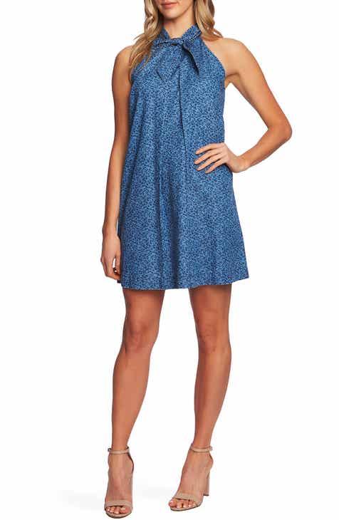 0f26152cdee CeCe Floral Halter Neck Cotton Denim Dress