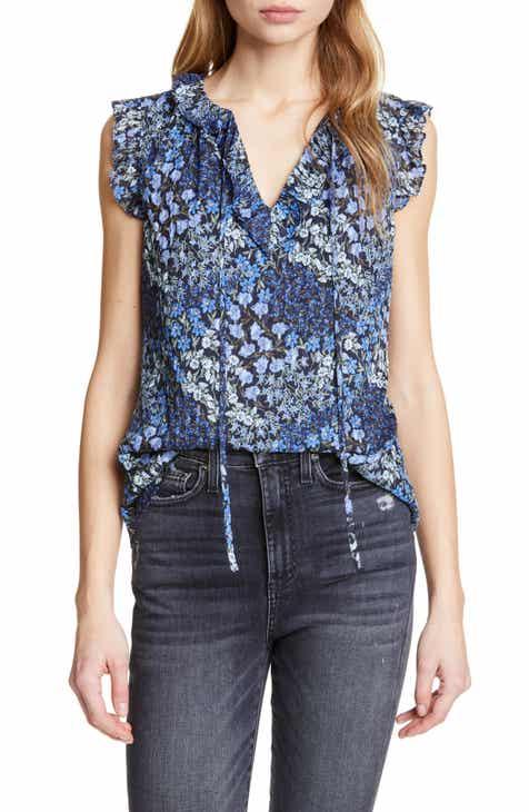 5373f6dc4292a Rebecca Taylor Ava Floral Silk   Cotton Sleeveless Blouse