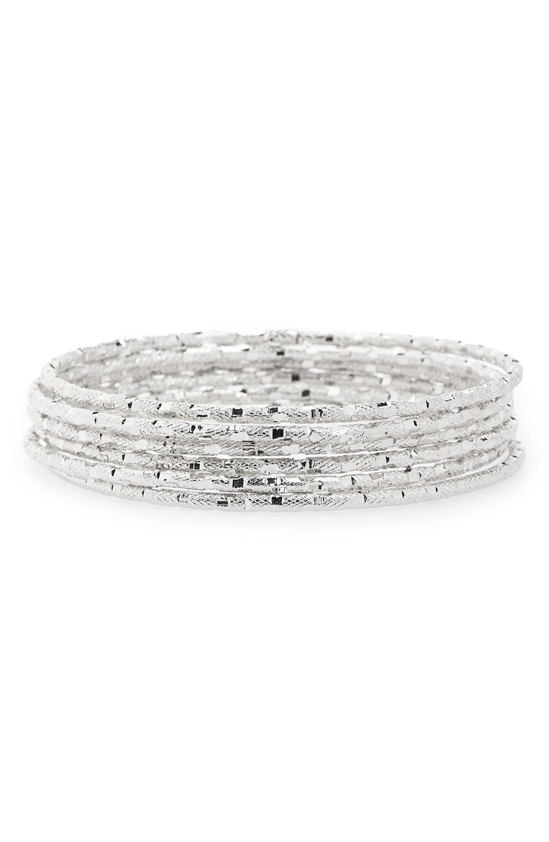 Main Image - Panacea Diamond Cut Textured Bangles (Set of 6)