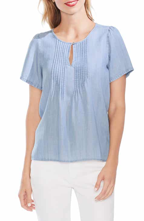 ccb577cde66d0c Vince Camuto Pintuck Front Short Sleeve Blouse