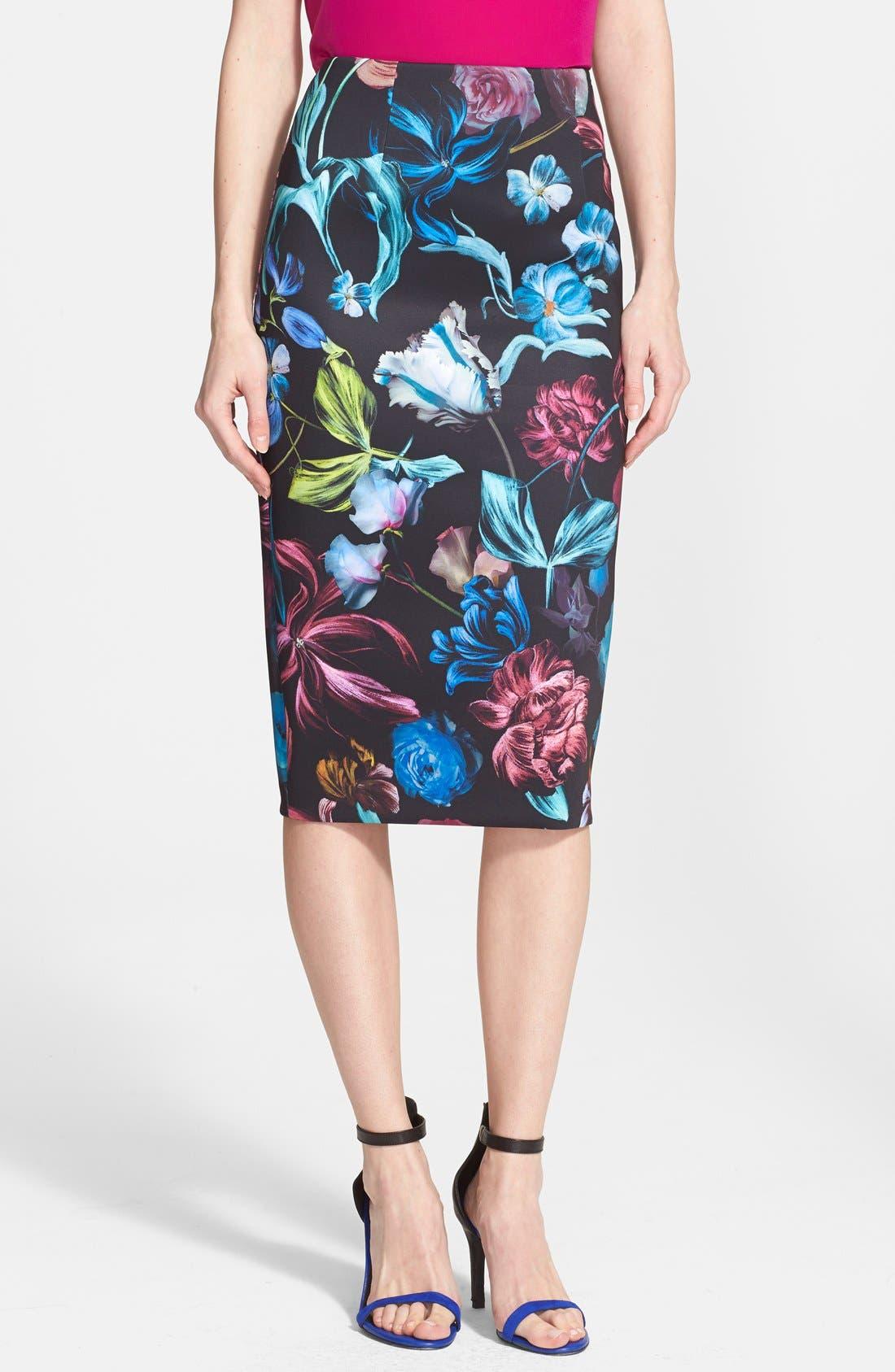 Alternate Image 1 Selected - Ted Baker London 'Dabah' Floral Print Pencil Skirt