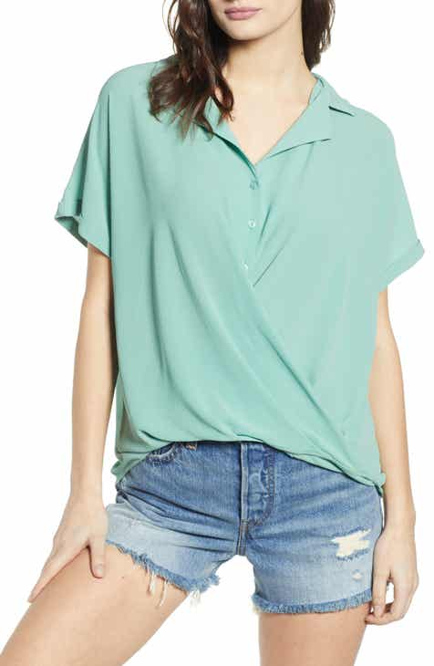 9f44ba6355226 All in Favor Gathered Front Button Top.  45.00. (2). Product Image. GREEN  LAKE