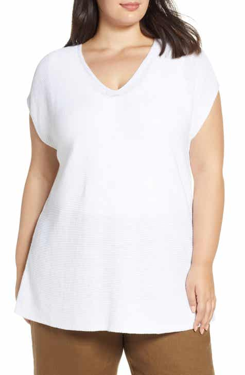 d9586b5c326c76 Eileen Fisher V-Neck Organic Linen   Cotton Tunic (Plus Size)