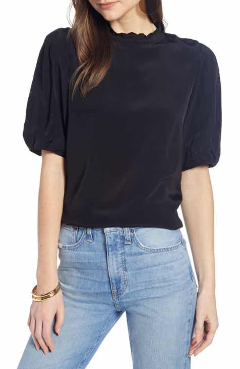 f0a6916d433f0d Something Navy Easy Puff Shoulder Top (Nordstrom Exclusive)