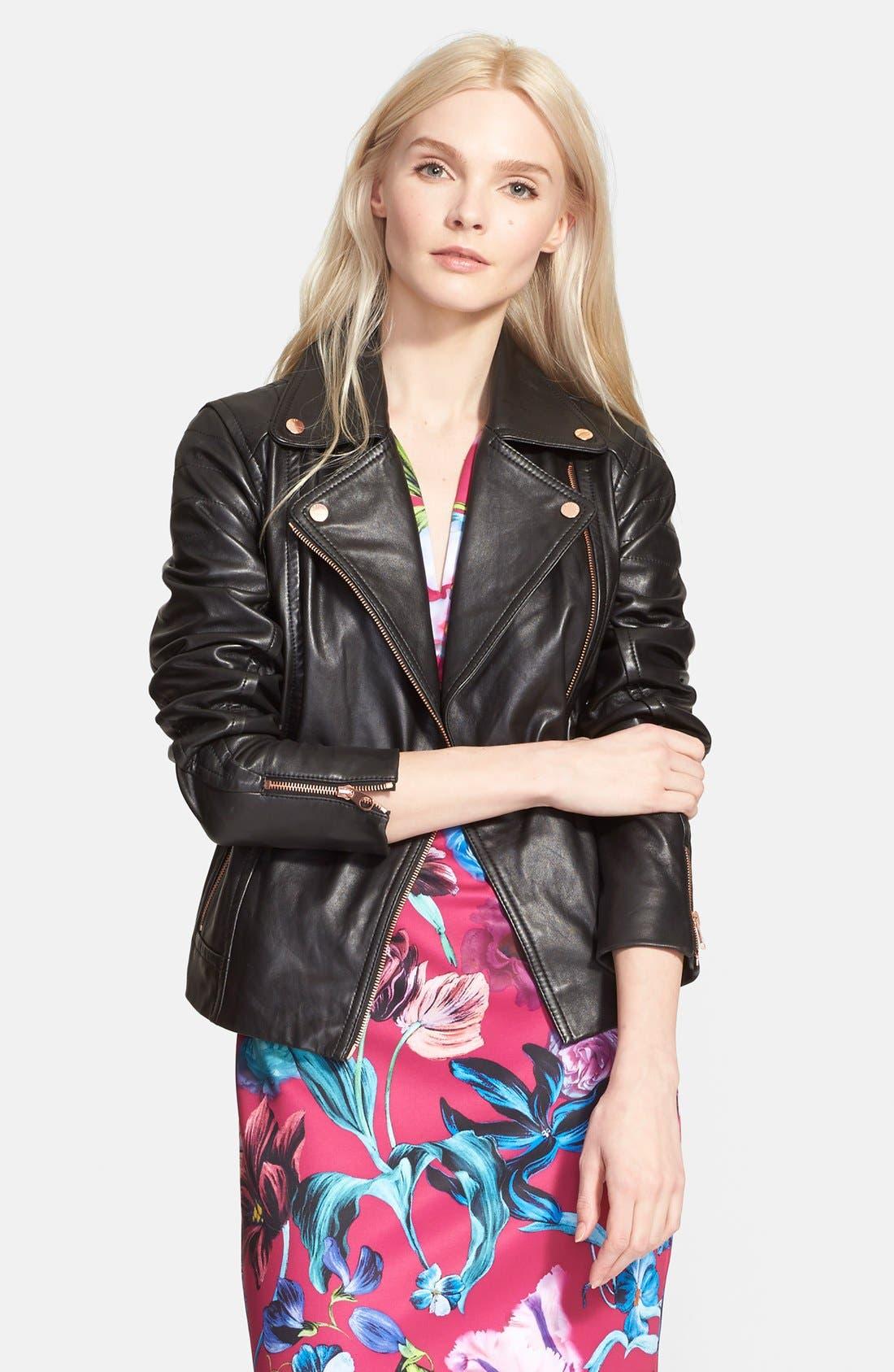 Main Image - Ted Baker London 'Riza' Leather Moto Jacket