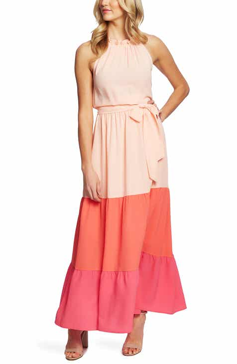 3791706194e CeCe Halter Bodice Colorblock Maxi Dress