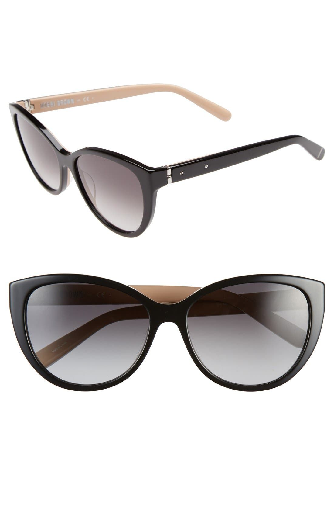 'The Marylins' 56mm Cat Eye Sunglasses,                         Main,                         color, Black/ Nude